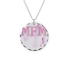 MFM initials, Pink Ribbon, Necklace Circle Charm