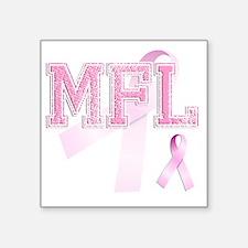"""MFL initials, Pink Ribbon, Square Sticker 3"""" x 3"""""""