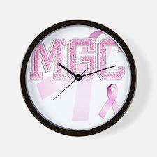 MGC initials, Pink Ribbon, Wall Clock