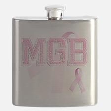 MGB initials, Pink Ribbon, Flask