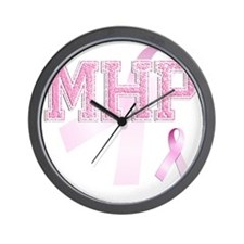 MHP initials, Pink Ribbon, Wall Clock