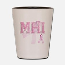 MHI initials, Pink Ribbon, Shot Glass