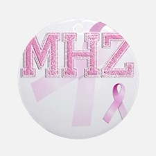 MHZ initials, Pink Ribbon, Round Ornament