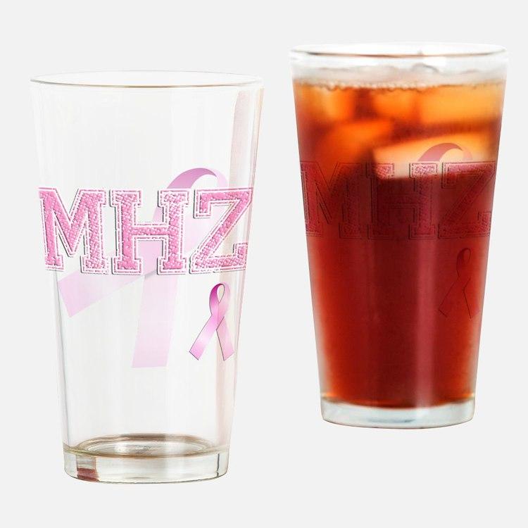 MHZ initials, Pink Ribbon, Drinking Glass
