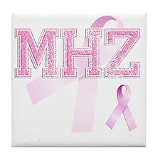 MHZ initials, Pink Ribbon, Tile Coaster
