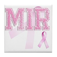 MIR initials, Pink Ribbon, Tile Coaster