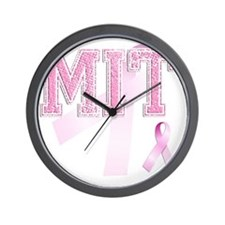 MIT initials, Pink Ribbon, Wall Clock