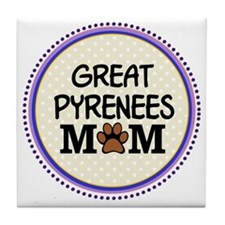 Great Pyrenees Dog Mom Tile Coaster