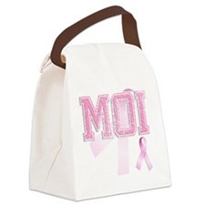MOI initials, Pink Ribbon, Canvas Lunch Bag