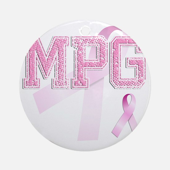 MPG initials, Pink Ribbon, Round Ornament