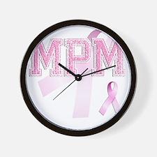 MPM initials, Pink Ribbon, Wall Clock