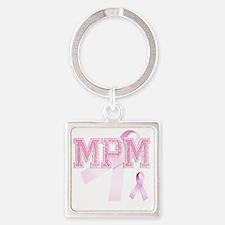 MPM initials, Pink Ribbon, Square Keychain