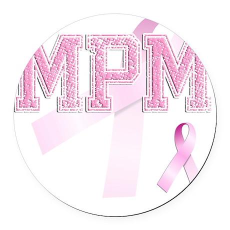 MPM initials, Pink Ribbon, Round Car Magnet