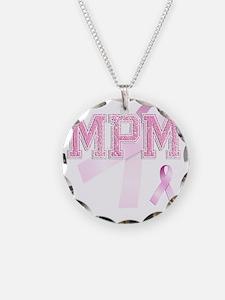 MPM initials, Pink Ribbon, Necklace