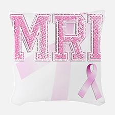 MRI initials, Pink Ribbon, Woven Throw Pillow