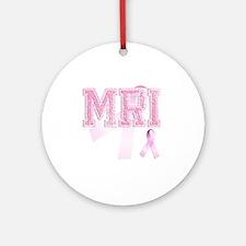 MRI initials, Pink Ribbon, Round Ornament