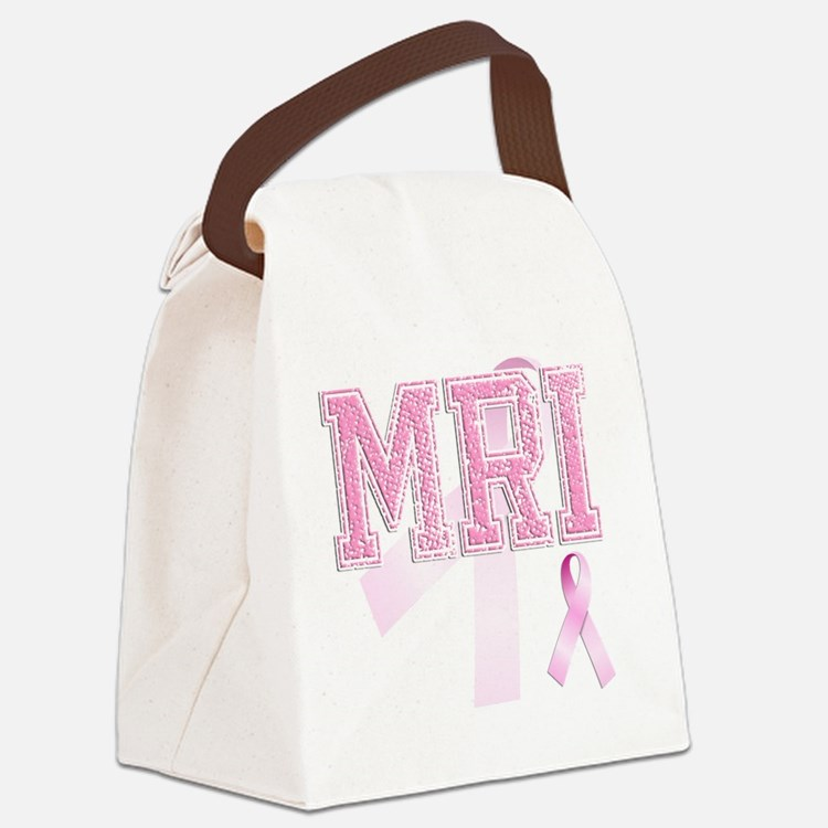 MRI initials, Pink Ribbon, Canvas Lunch Bag
