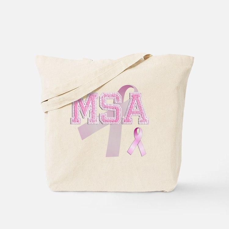 MSA initials, Pink Ribbon, Tote Bag