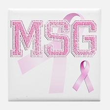 MSG initials, Pink Ribbon, Tile Coaster