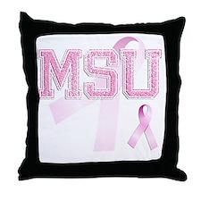 MSU initials, Pink Ribbon, Throw Pillow