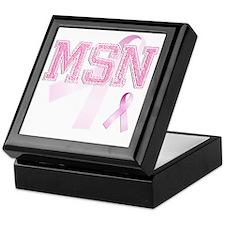 MSN initials, Pink Ribbon, Keepsake Box