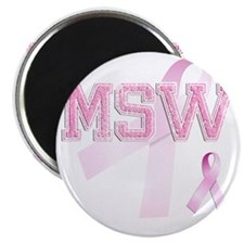 MSW initials, Pink Ribbon, Magnet