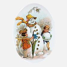 Vintage Snowman Christmas Oval Ornament