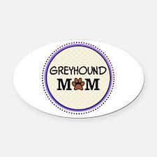 Greyhound Dog Mom Oval Car Magnet