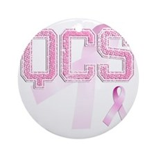 QCS initials, Pink Ribbon, Round Ornament