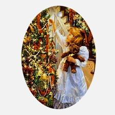 Vintage Christmas Scene Oval Ornament