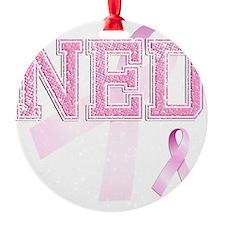 NED initials, Pink Ribbon, Ornament