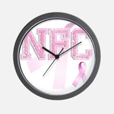 NFC initials, Pink Ribbon, Wall Clock