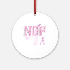 NGF initials, Pink Ribbon, Round Ornament