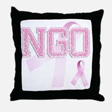 NGO initials, Pink Ribbon, Throw Pillow