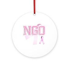 NGO initials, Pink Ribbon, Round Ornament