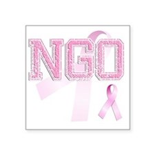 "NGO initials, Pink Ribbon, Square Sticker 3"" x 3"""