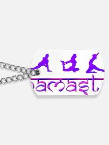 Namaste_yoga_poses_purple Dog Tags