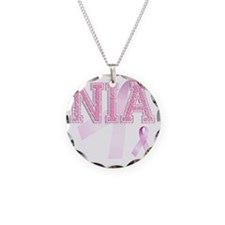 NIA initials, Pink Ribbon, Necklace