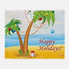Palm Tree Holiday Throw Blanket