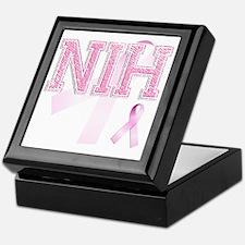 NIH initials, Pink Ribbon, Keepsake Box