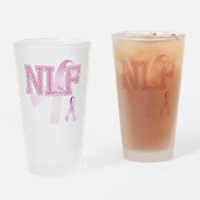 NLF initials, Pink Ribbon, Drinking Glass