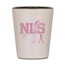 NLS initials, Pink Ribbon, Shot Glass