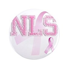 "NLS initials, Pink Ribbon, 3.5"" Button"