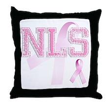 NLS initials, Pink Ribbon, Throw Pillow