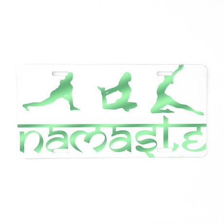 Namaste yoga green Aluminum License Plate