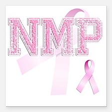 "NMP initials, Pink Ribbo Square Car Magnet 3"" x 3"""