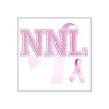 """NNL initials, Pink Ribbon, Square Sticker 3"""" x 3"""""""