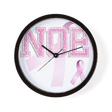NOE initials, Pink Ribbon, Wall Clock