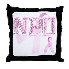 NPO initials, Pink Ribbon, Throw Pillow