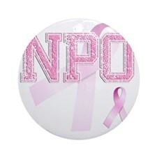 NPO initials, Pink Ribbon, Round Ornament